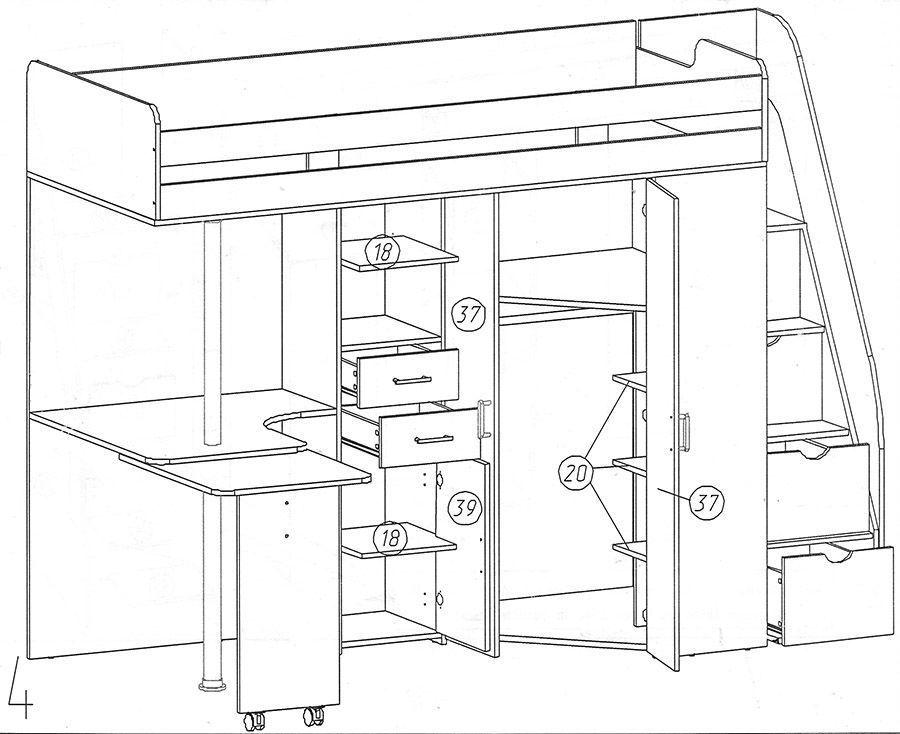 Схема сборки кровати-чердака теремок